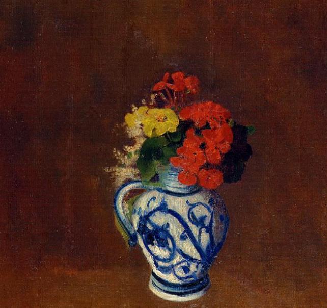 Gerani e altri fiori in un vaso di gres (Geraniums and other flowers in a stoneware vase)