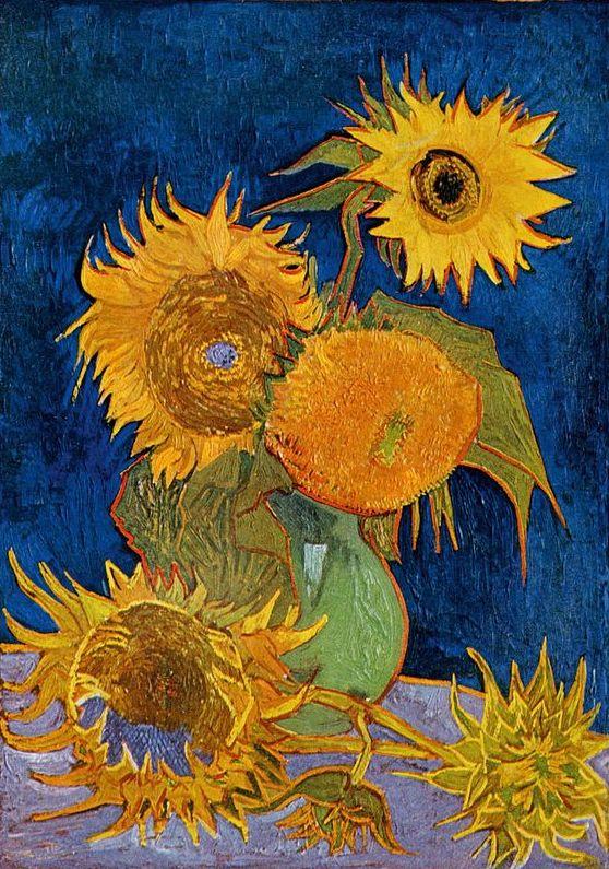 Natura morta, vaso con cinque girasoli (Still life vase with five sunflowers), 1888; Olio su tela (98 x 69 cm)
