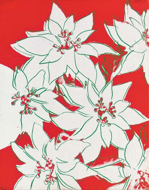 Poinsettias, 1983; Polimeri sintetici e serigrafia su tela (35.5 x 28 cm)