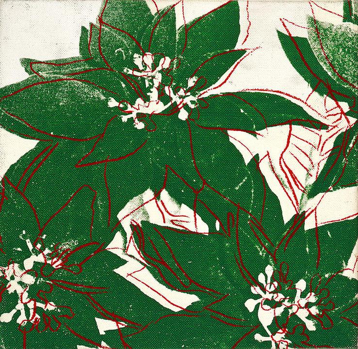 Poinsettias, 1980; Inchiostro e serigrafia su tela (22.9 x 22.9 cm)
