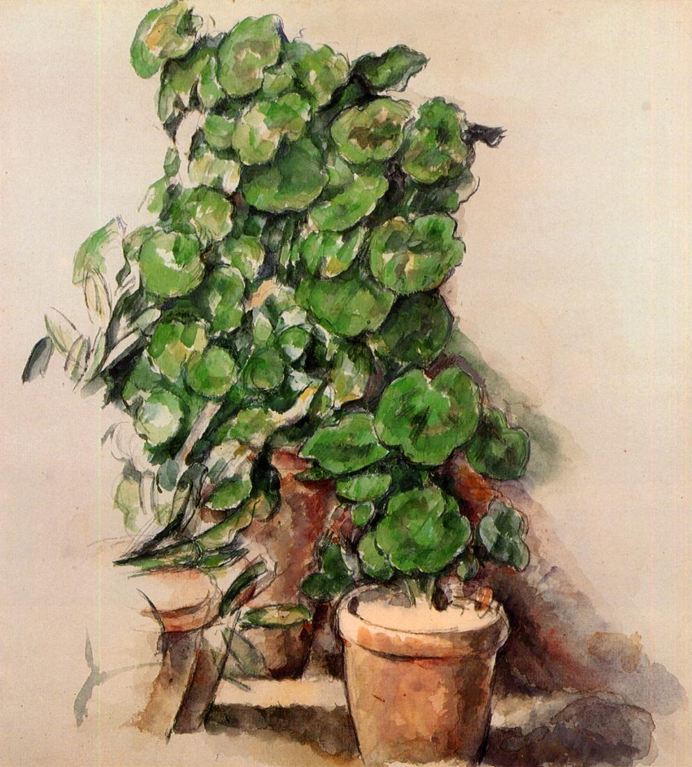 Vasi di gerani (Pots of geraniums), 1888; Acquerello su carta