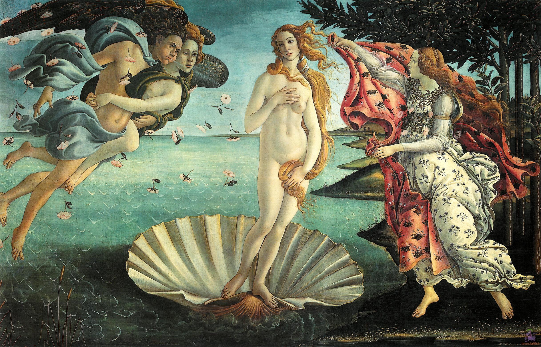 Nascita di Venere 1482–1485 circa Sandro Botticelli (1445-1510) Tempera su tela (172- 278 cm); Esposto presso la galleria degli Uffizi di Firenze