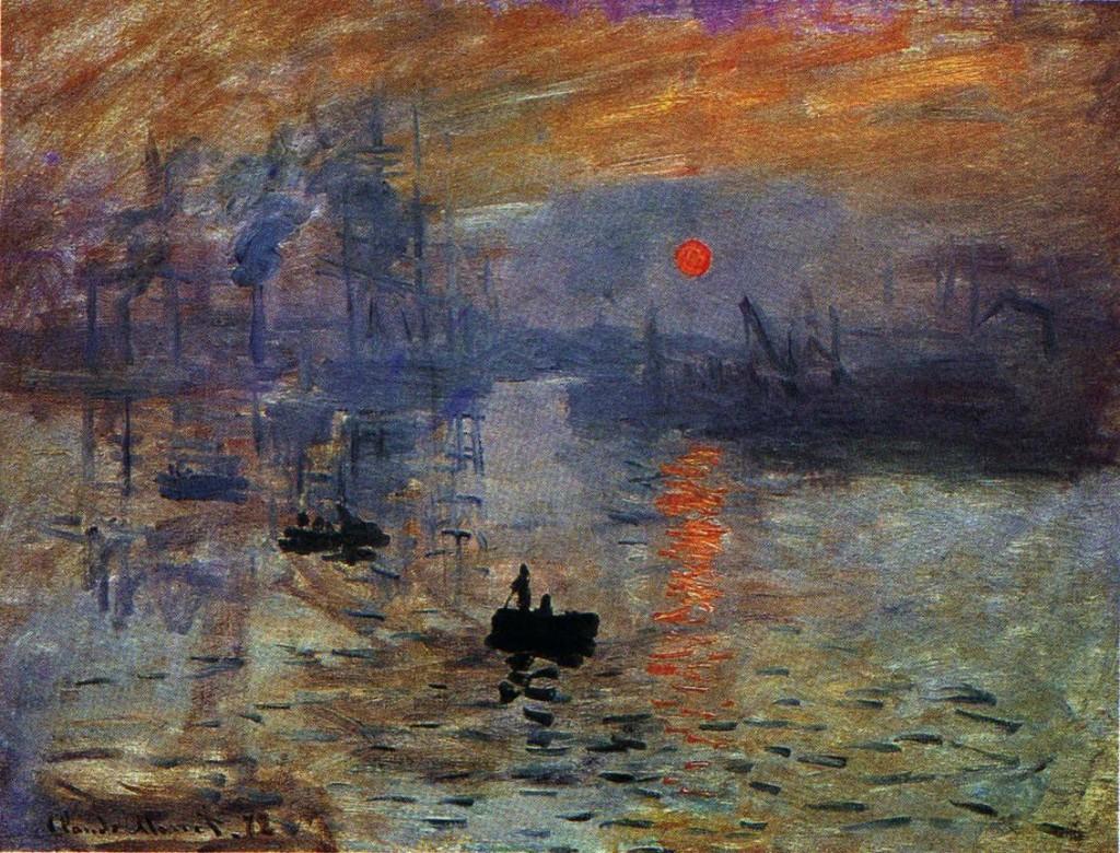 Impression, soleil levant, 1872; Olio su tela (48 x 63 cm); Attualmente esposto presso il Musée Marmottan Monet a Parigi