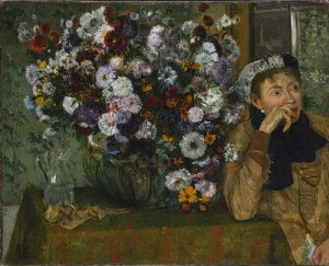 A Woman seated beside a vase of flowers (Madame Paul Valpinçon?), Edgar Degas; Olio su tela (73.7 cm x 92.7 cm)