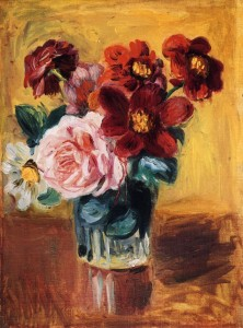 Bouquet of Peonies and Anemones; Pierre August Renoir; Olio su tela (24.3 x 32.5 cm)