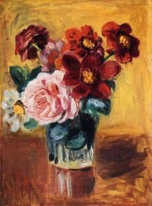Bouquet of Peonies and Anemones; Pierre August Renoir; Olio su tela (24.3 x 32.5 cm)