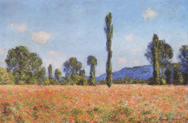 Campo di papaveri a Giverny , Claude Monet 1890 – 1891;  Olio su tela (61.2 x 93 cm)