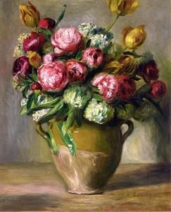Vase of Peonies, Pierre August Renoir 1872; Olio su tela (47 x 57 cm)