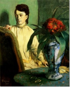 Woman with a Vase of Flowers (1872 - 1873); Edgar Degas