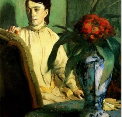 Woman with a vase of flowers di Edgar Degas