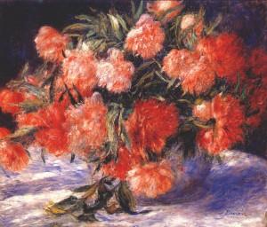 Peonies in a Vase, Pierre August Renoir 1880; Olio su tela (54.9 x 65.3 cm)