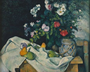 Still life with flowers and fruit, Paul Cézanne 1890; Olio su tela (82 x 65.5 cm)