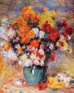 Vase of chrysanthemums, Pierre August Renoir 1890; Olio su tela