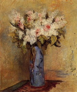 Vase of Lilacs and Roses Pierre-Auguste Renoir 1870; Olio su tela