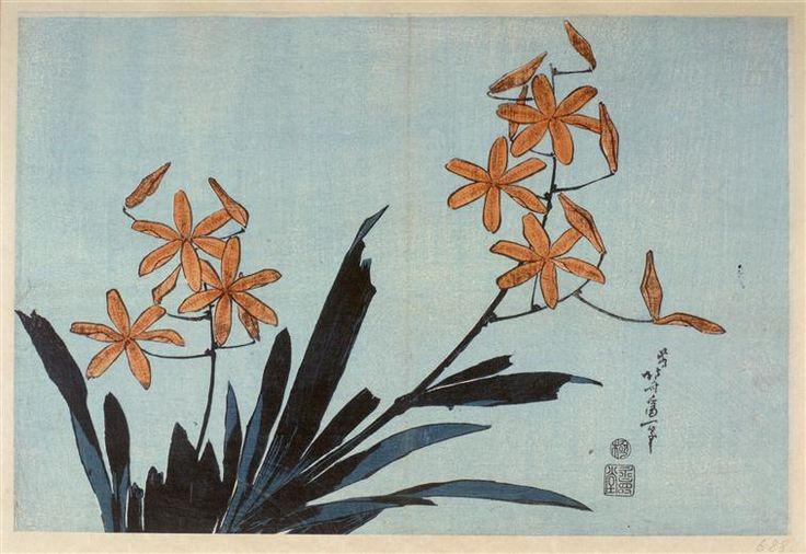 Orange orchids, Katsushika Hokusai