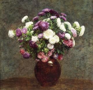 Asters In A Vase (astri in un vaso) Henri Fantin Latour; Olio su tela (59 x 58 cm)