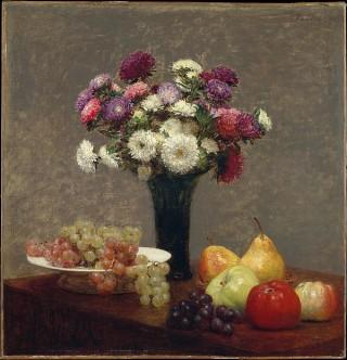 Asters and Fruit on a Table (Astri e frutta su un tavolo), Henri Fantin Latour; Olio su tela (56.8 x 54.9 cm)