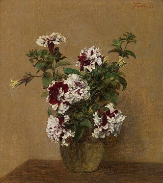 Bouquet de pétunias doubles (Bouquet di petunie doppie), Henri Fantin Latour; Olio su tela (46.5 x 42 cm)