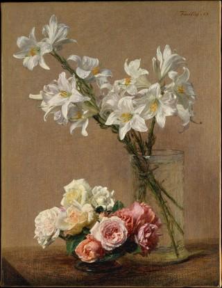 Rose and lilis (Rose e gigli), Herni Fantin Latour; Olio su tela (59.7 x 45.7 cm)
