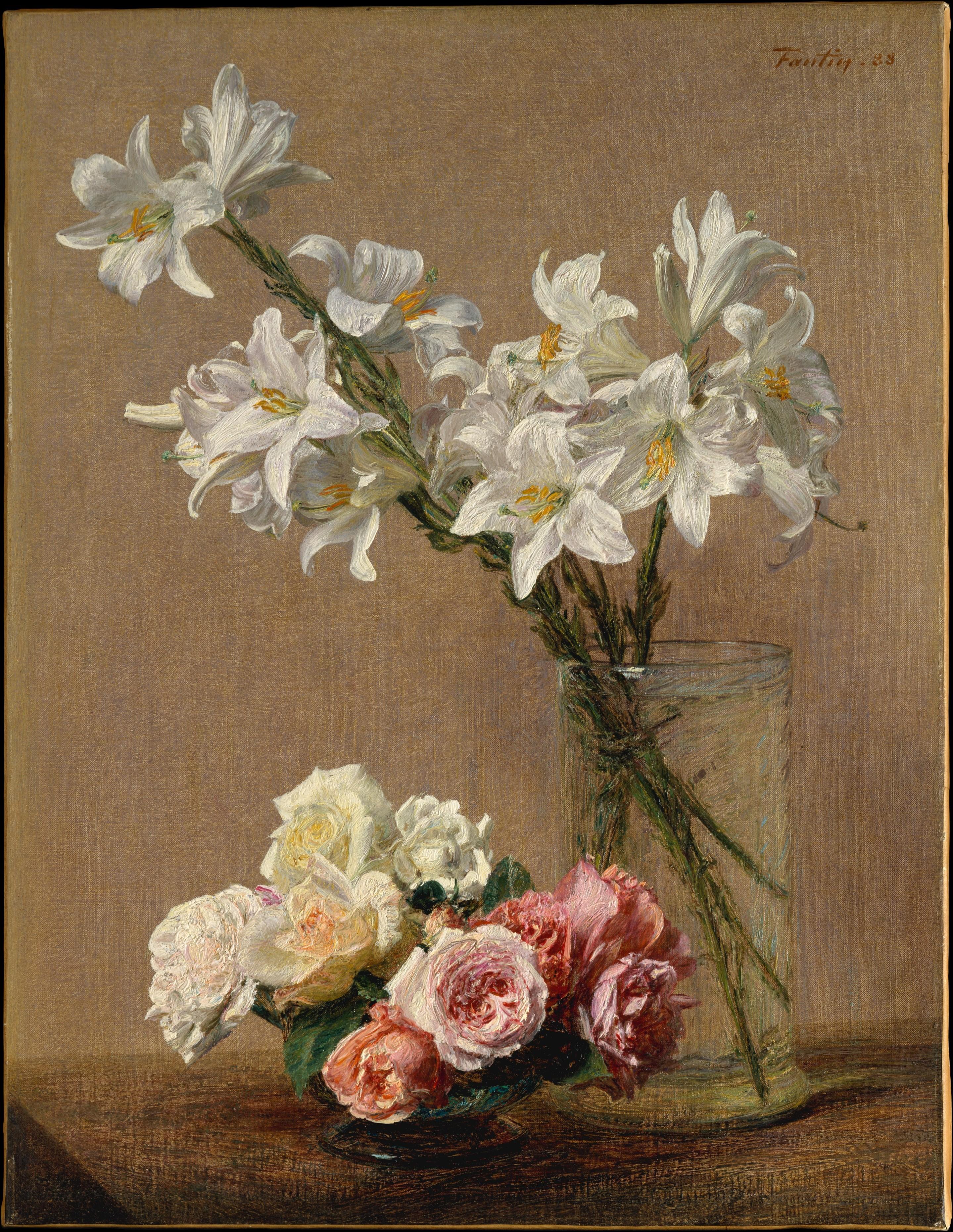 Roses and lilies (Rose e gigli) di Henri Fantin Latour