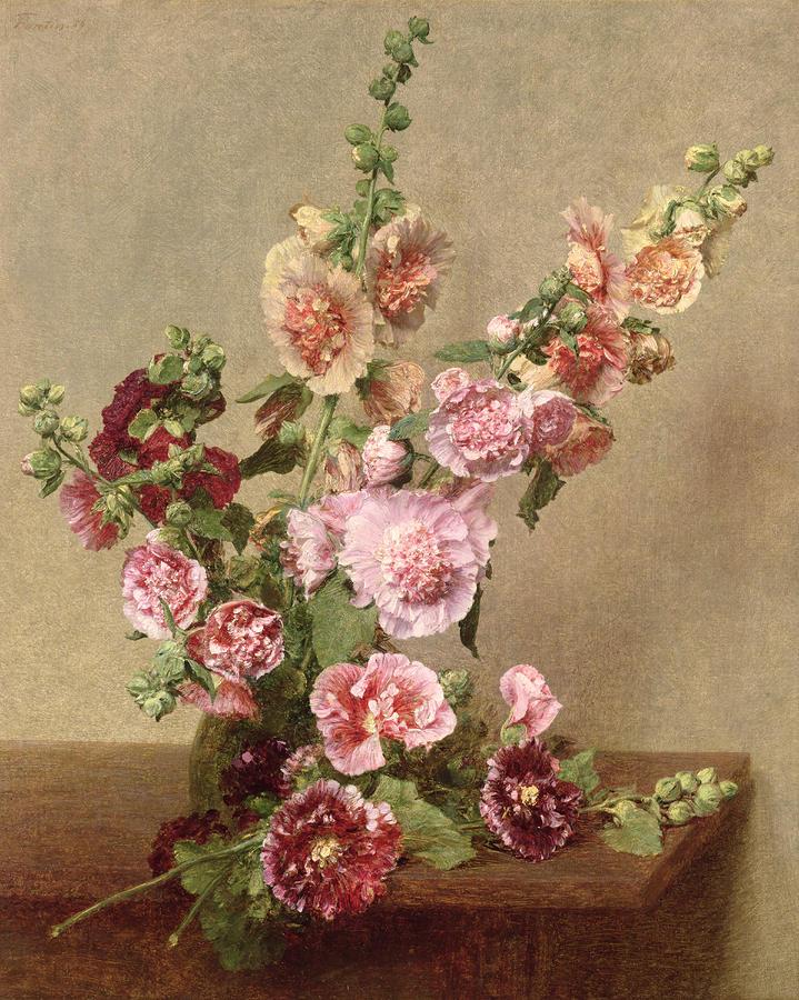 Hollyhocks (Alcea rosea) di Henri Fantin Latour